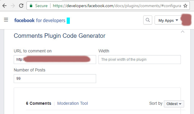 Facebook Comments Code Generation
