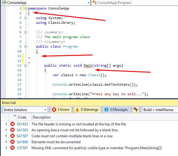 Visual Studio 2017 StyleCop Analyzers real-time style error highlighting