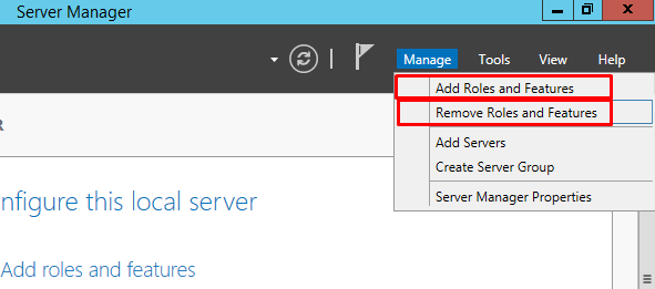 add remove features windows server