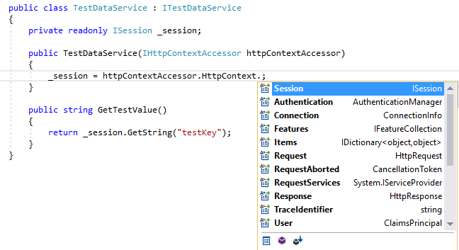 IHttpContextAccessor HttpContext Properties