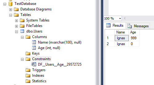 Table schema and data 2, and auto-named SQL constraint