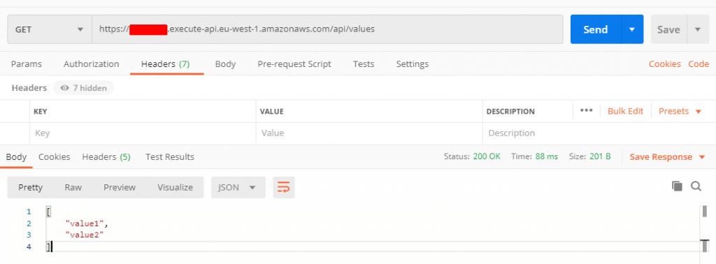 API response after invoking AWS Lambda synchronously